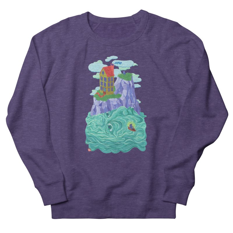 Oceanman in Men's French Terry Sweatshirt Heather Purple by Valeriya Volkova