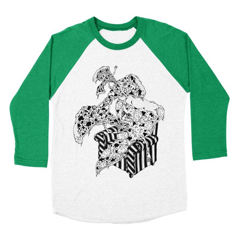 Pizza Eating Pizza (B&W) Women's Baseball Triblend Longsleeve T-Shirt by Valeriya Volkova