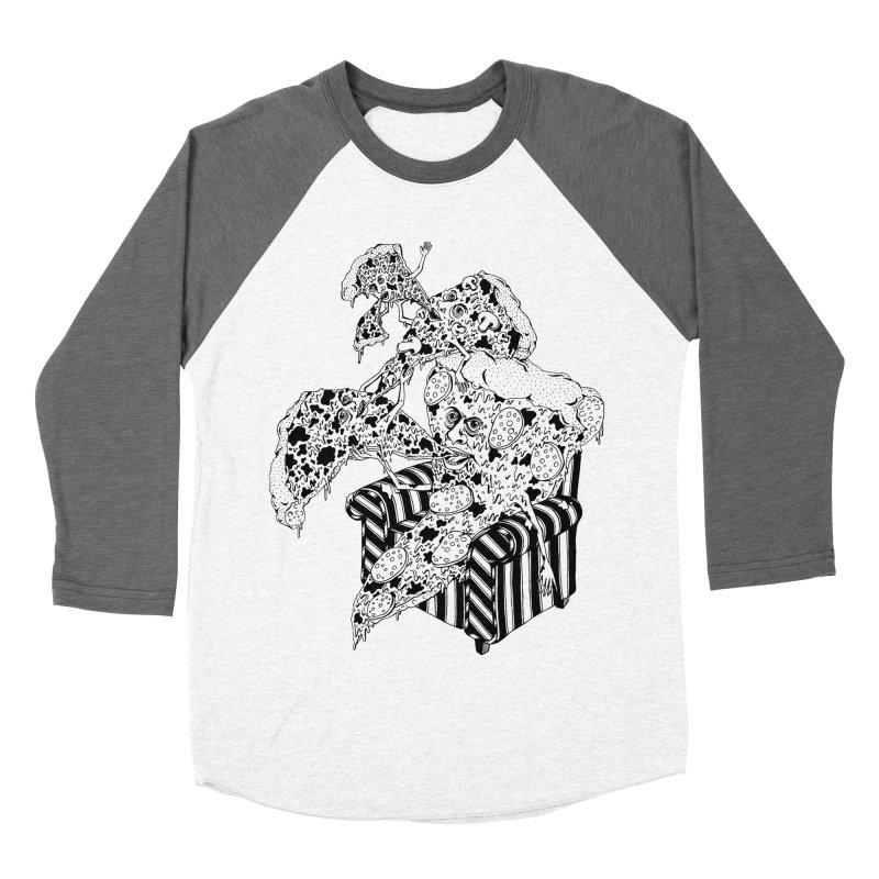 Pizza Eating Pizza (B&W) Men's Baseball Triblend Longsleeve T-Shirt by Valeriya Volkova