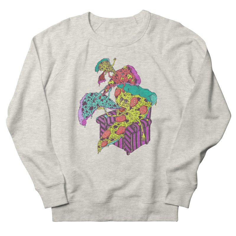 Pizza Eating Pizza (Color!) Men's Sweatshirt by Valeriya Volkova