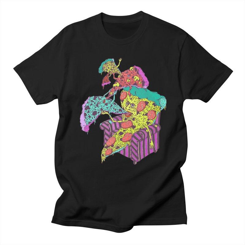 Pizza Eating Pizza (Color!) in Men's T-Shirt Black by Valeriya Volkova