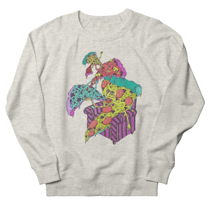 Pizza Eating Pizza (Color!) Men's French Terry Sweatshirt by Valeriya Volkova
