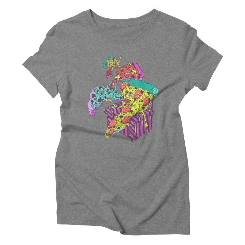 Pizza Eating Pizza (Color!) Women's Triblend T-Shirt by Valeriya Volkova