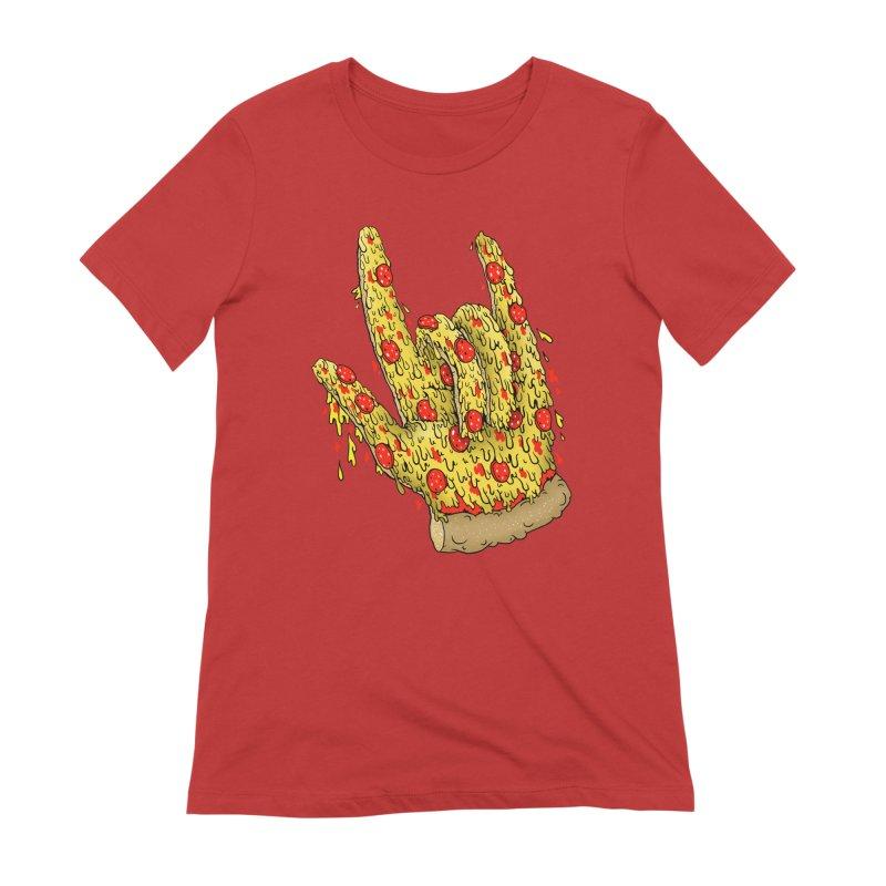 Pizza Hand Women's Extra Soft T-Shirt by Valeriya Volkova