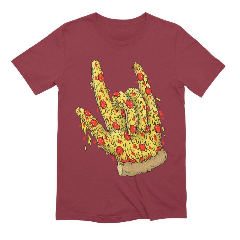 Pizza Hand Men's Extra Soft T-Shirt by Valeriya Volkova