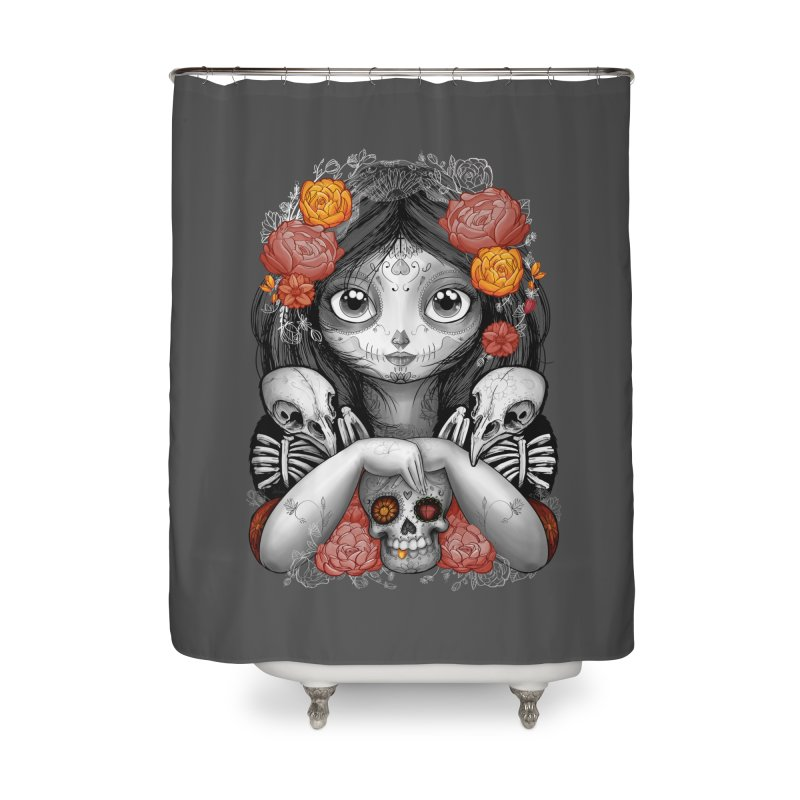 cuervos y amor Home Shower Curtain by valterferrari's Artist Shop