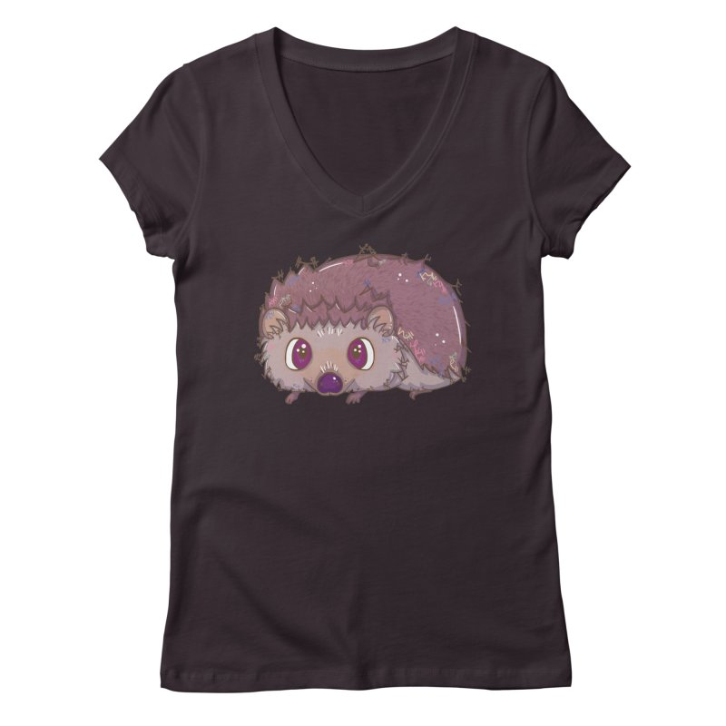Happiest Little Hedgehog Women's V-Neck by VanillaKirsty's Artist Shop