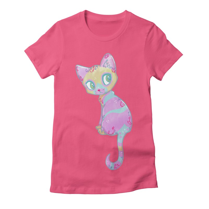 Mystical Little Kitty Women's Fitted T-Shirt by VanillaKirsty's Artist Shop