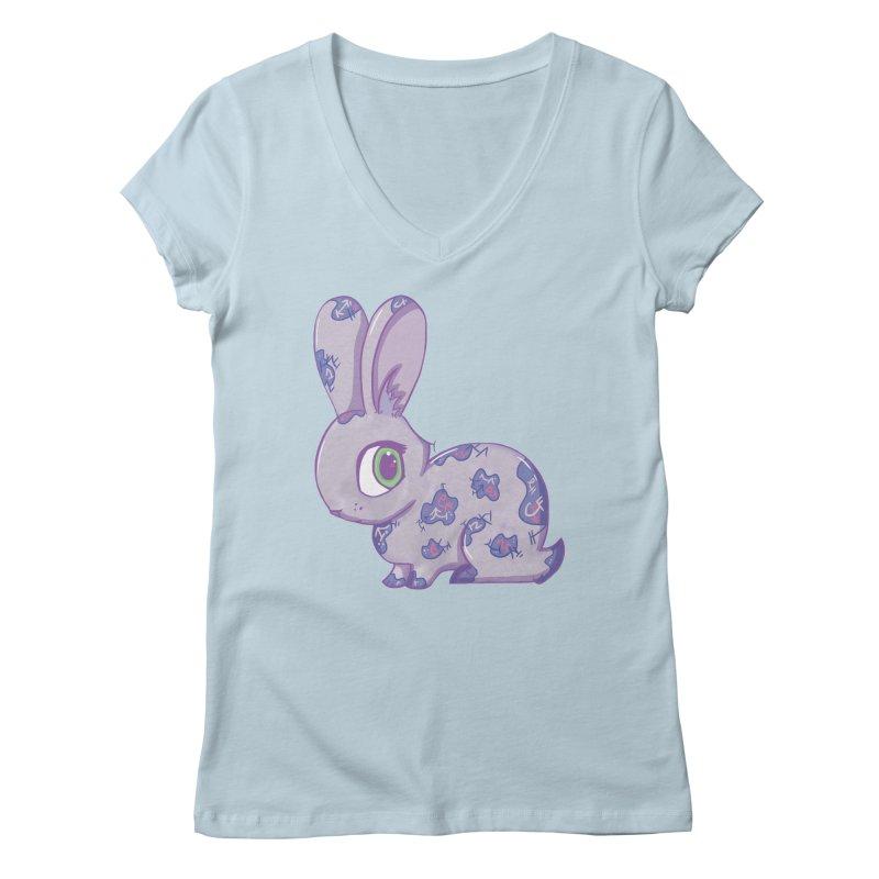 Brave Little Bunny Women's V-Neck by VanillaKirsty's Artist Shop