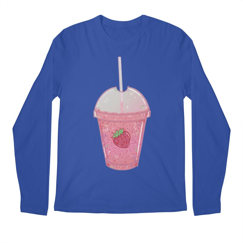 Sweetest Strawberry Smoothie Men's Longsleeve T-Shirt by VanillaKirsty's Artist Shop