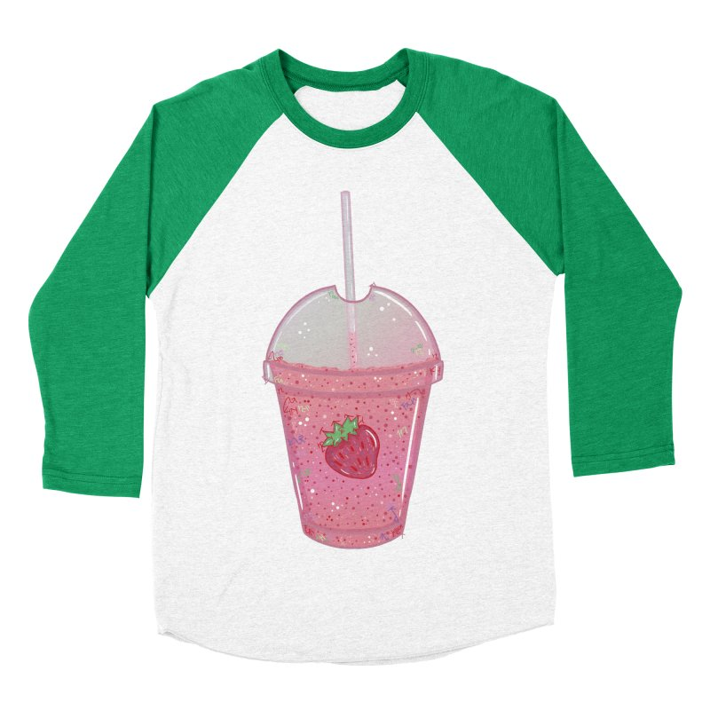 Sweetest Strawberry Smoothie Men's Baseball Triblend T-Shirt by VanillaKirsty's Artist Shop