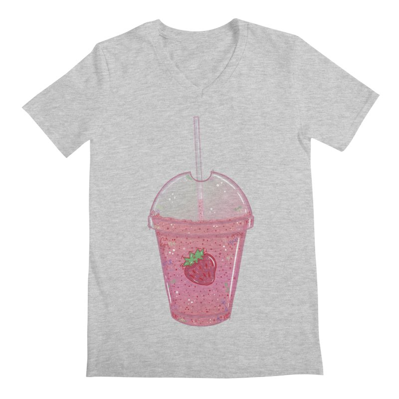 Sweetest Strawberry Smoothie Men's V-Neck by VanillaKirsty's Artist Shop