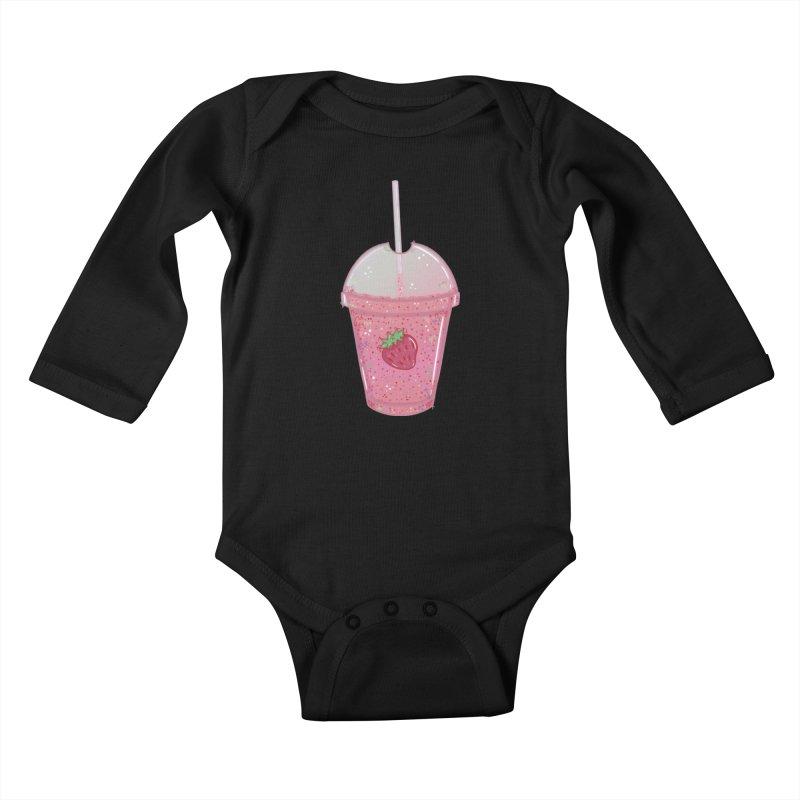 Sweetest Strawberry Smoothie Kids Baby Longsleeve Bodysuit by VanillaKirsty's Artist Shop