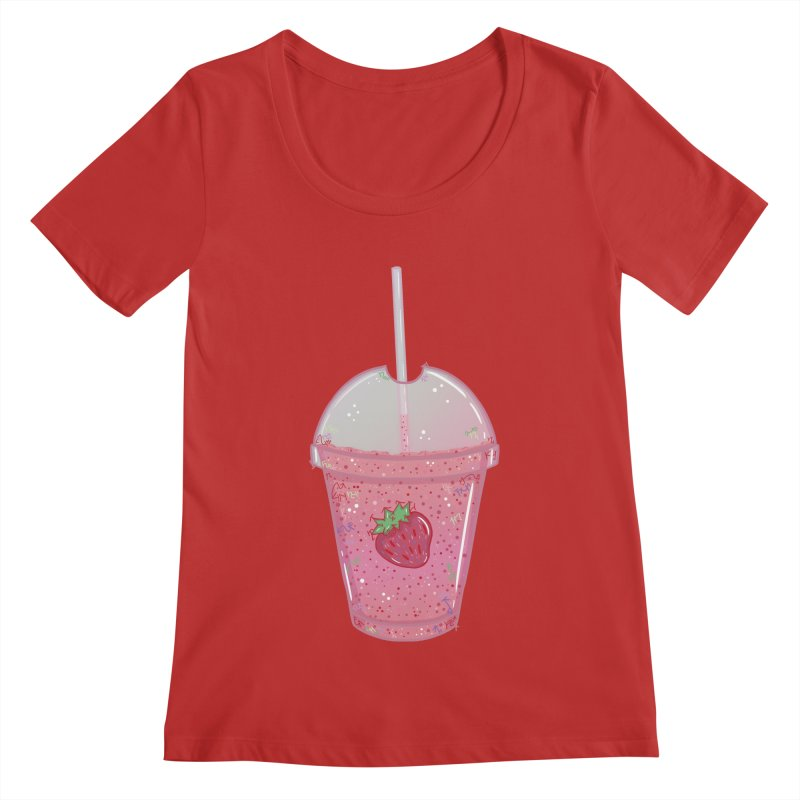 Sweetest Strawberry Smoothie Women's Scoopneck by VanillaKirsty's Artist Shop