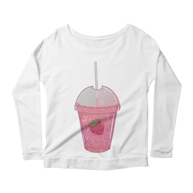 Sweetest Strawberry Smoothie Women's Longsleeve Scoopneck  by VanillaKirsty's Artist Shop