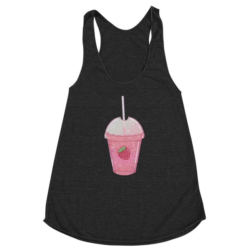 Sweetest Strawberry Smoothie Women's Racerback Triblend Tank by VanillaKirsty's Artist Shop