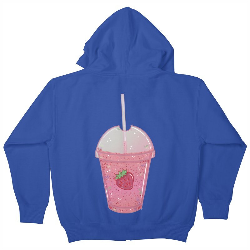 Sweetest Strawberry Smoothie Kids Zip-Up Hoody by VanillaKirsty's Artist Shop