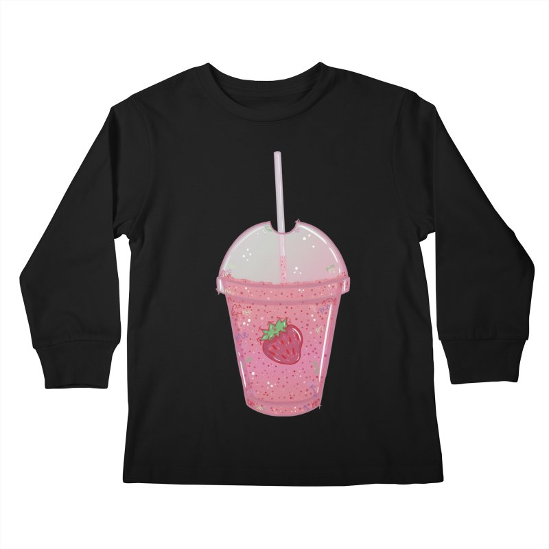 Sweetest Strawberry Smoothie Kids Longsleeve T-Shirt by VanillaKirsty's Artist Shop