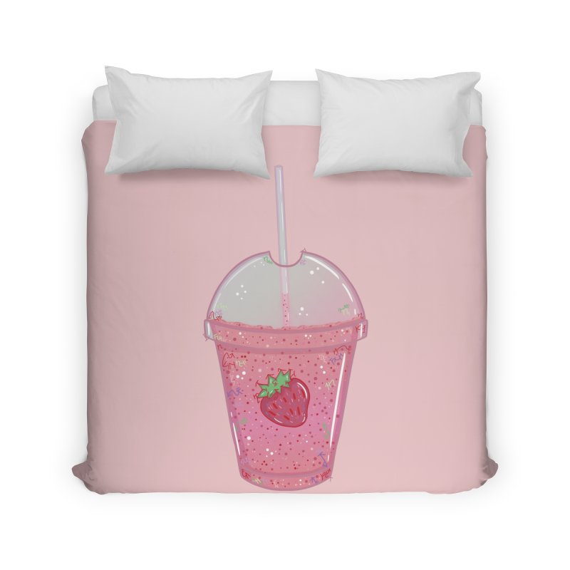 Sweetest Strawberry Smoothie Home Duvet by VanillaKirsty's Artist Shop