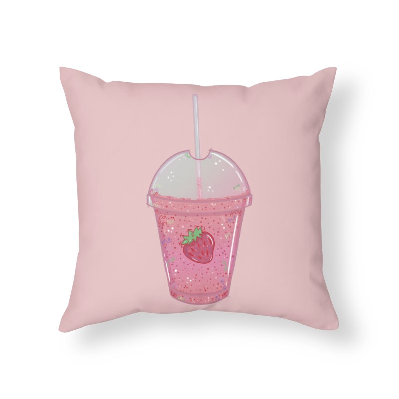 Sweetest Strawberry Smoothie Home Throw Pillow by VanillaKirsty's Artist Shop