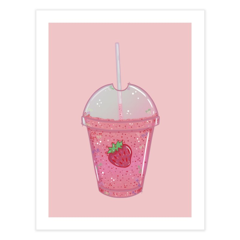 Sweetest Strawberry Smoothie Home Fine Art Print by VanillaKirsty's Artist Shop