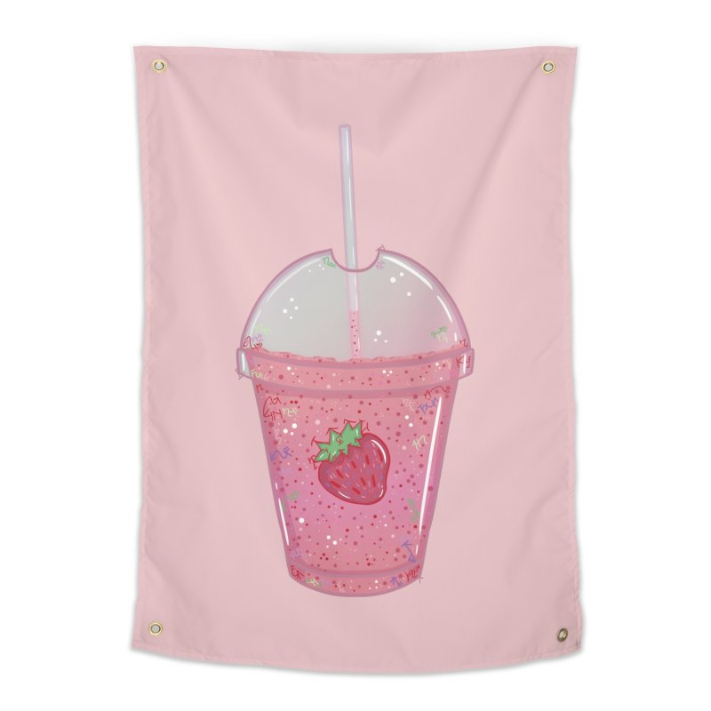 Sweetest Strawberry Smoothie Home Tapestry by VanillaKirsty's Artist Shop