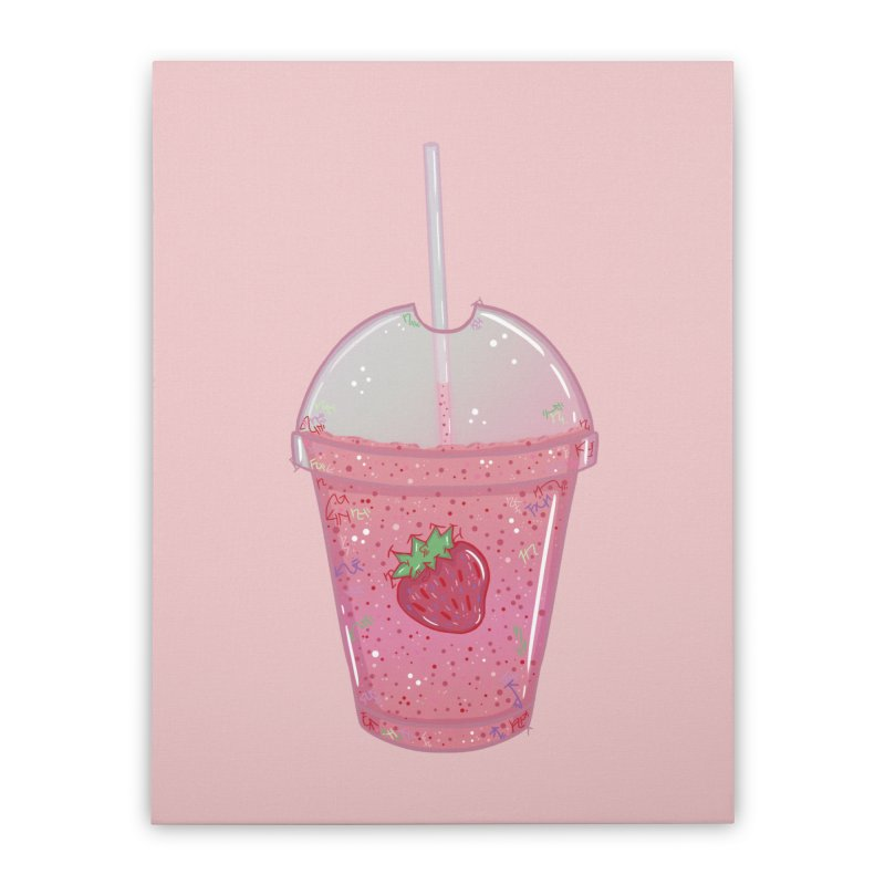 Sweetest Strawberry Smoothie Home Stretched Canvas by VanillaKirsty's Artist Shop