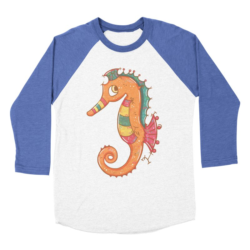 Sparkly Little Seahorse Men's Baseball Triblend T-Shirt by VanillaKirsty's Artist Shop