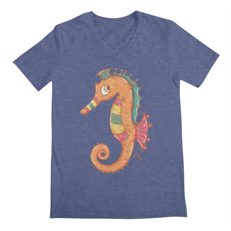 Sparkly Little Seahorse Men's V-Neck by VanillaKirsty's Artist Shop