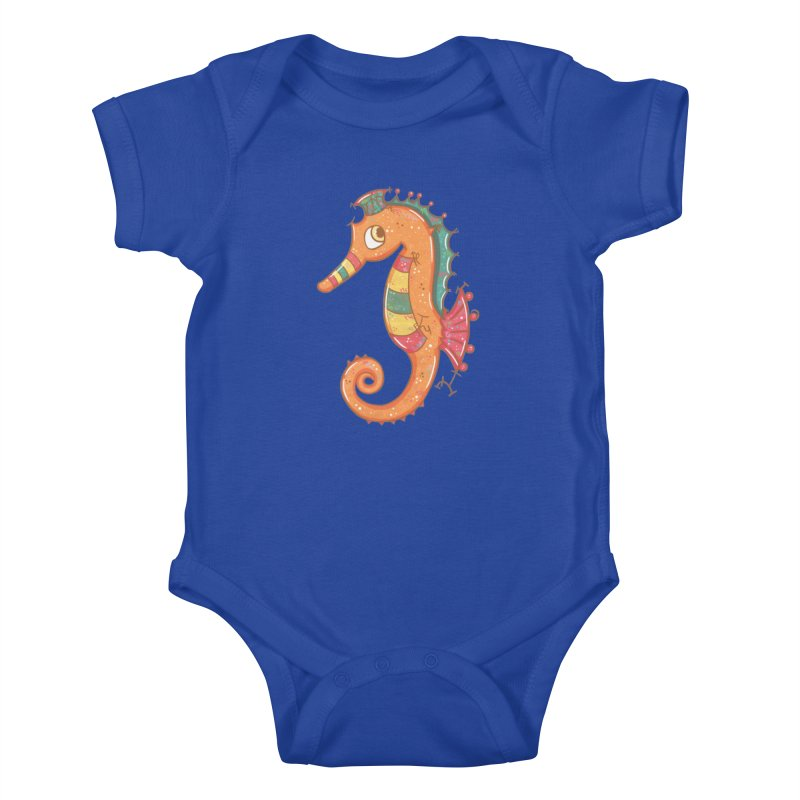 Sparkly Little Seahorse Kids Baby Bodysuit by VanillaKirsty's Artist Shop