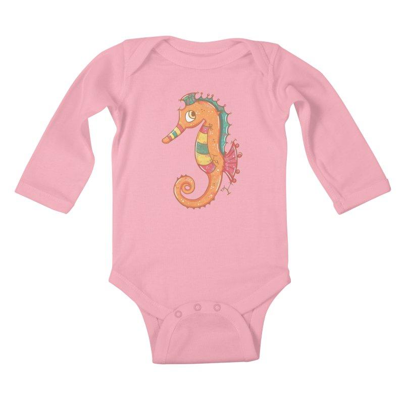Sparkly Little Seahorse Kids Baby Longsleeve Bodysuit by VanillaKirsty's Artist Shop