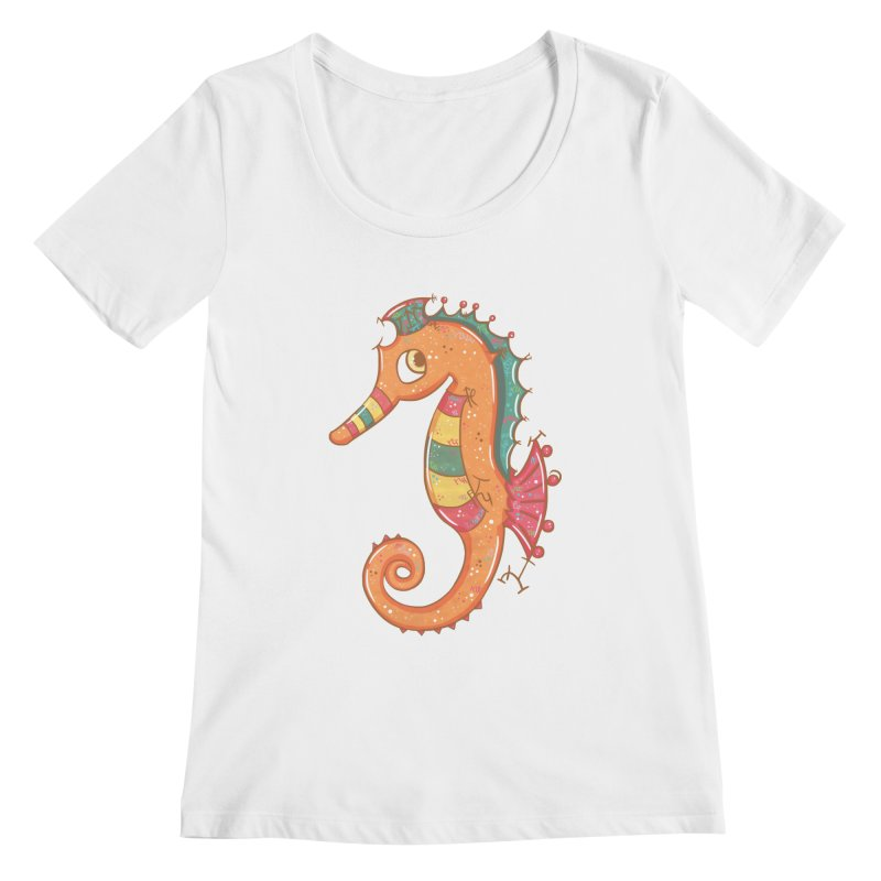 Sparkly Little Seahorse Women's Scoopneck by VanillaKirsty's Artist Shop