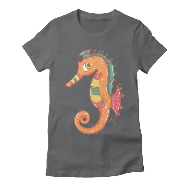 Sparkly Little Seahorse Women's Fitted T-Shirt by VanillaKirsty's Artist Shop