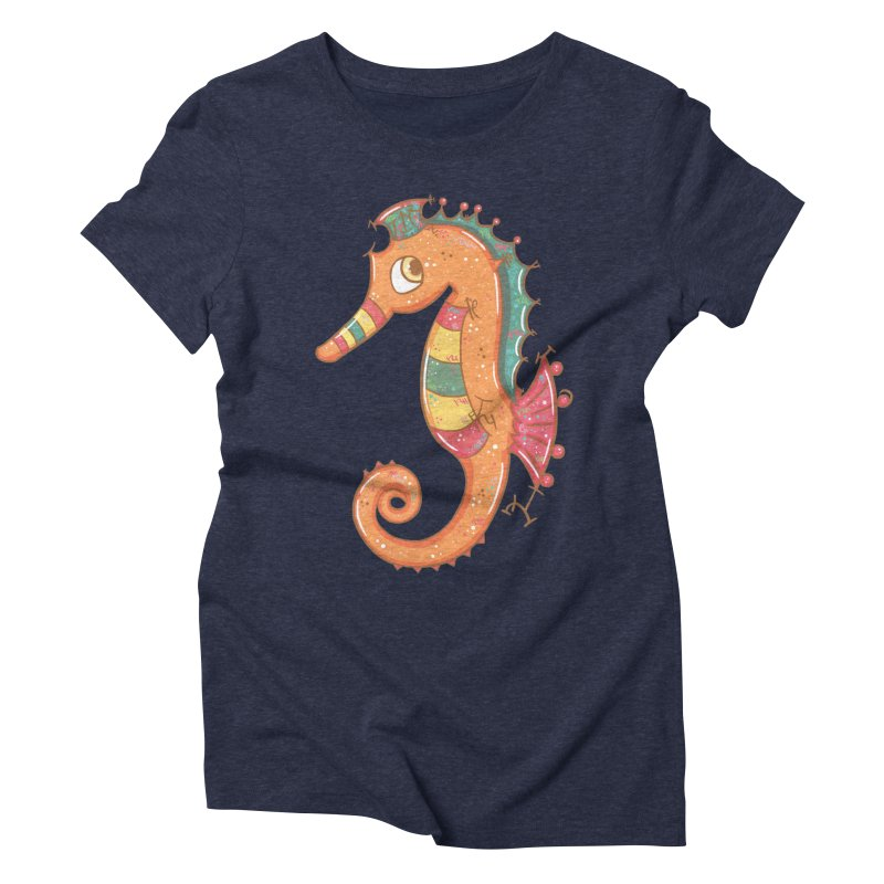 Sparkly Little Seahorse Women's Triblend T-shirt by VanillaKirsty's Artist Shop