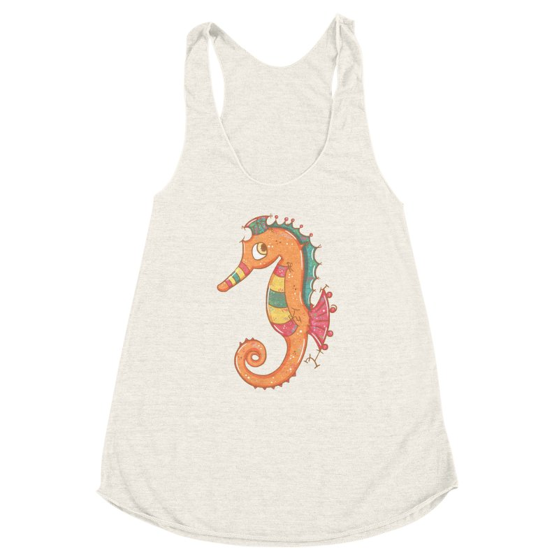 Sparkly Little Seahorse Women's Racerback Triblend Tank by VanillaKirsty's Artist Shop