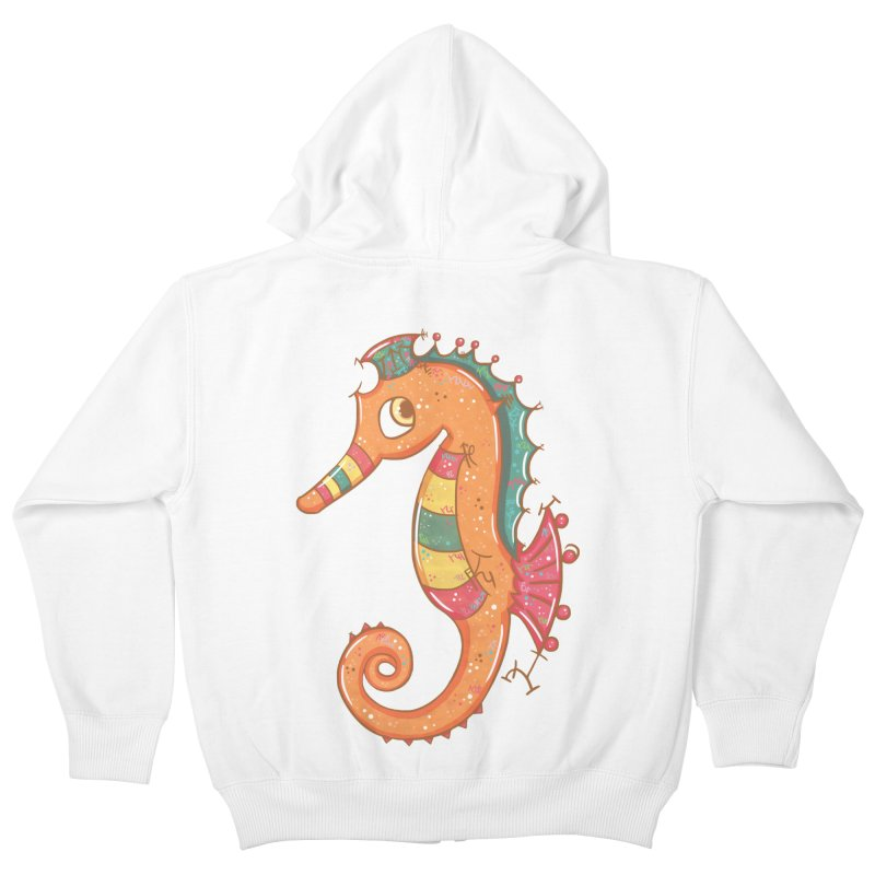 Sparkly Little Seahorse Kids Zip-Up Hoody by VanillaKirsty's Artist Shop