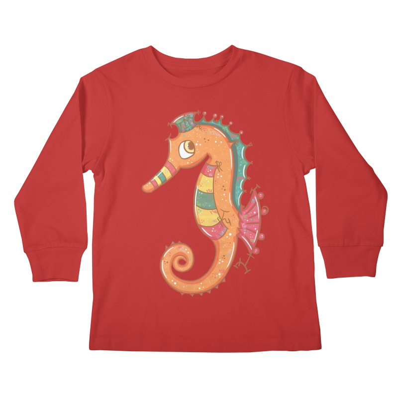 Sparkly Little Seahorse Kids Longsleeve T-Shirt by VanillaKirsty's Artist Shop