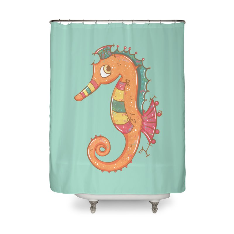 Sparkly Little Seahorse Home Shower Curtain by VanillaKirsty's Artist Shop