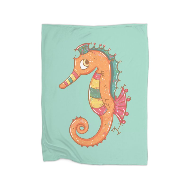 Sparkly Little Seahorse Home Blanket by VanillaKirsty's Artist Shop