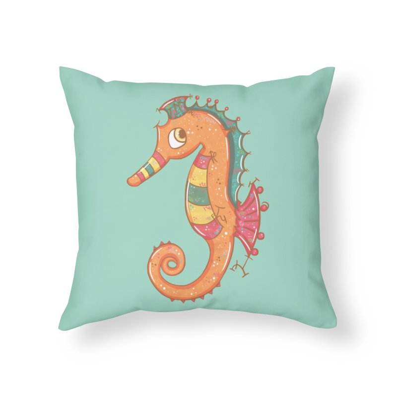 Sparkly Little Seahorse Home Throw Pillow by VanillaKirsty's Artist Shop
