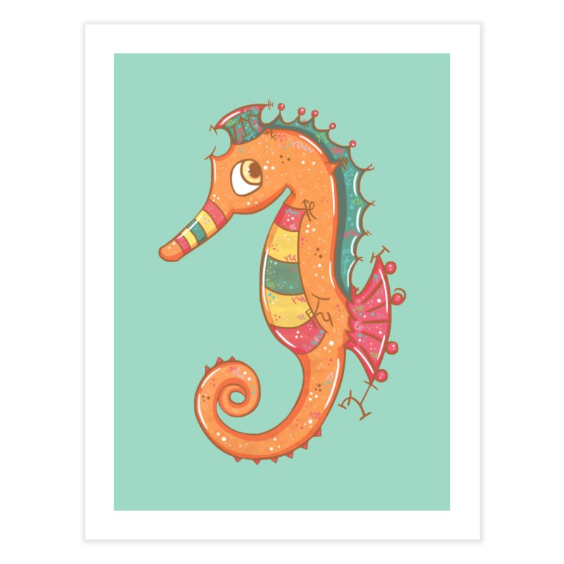 Sparkly Little Seahorse Home Fine Art Print by VanillaKirsty's Artist Shop