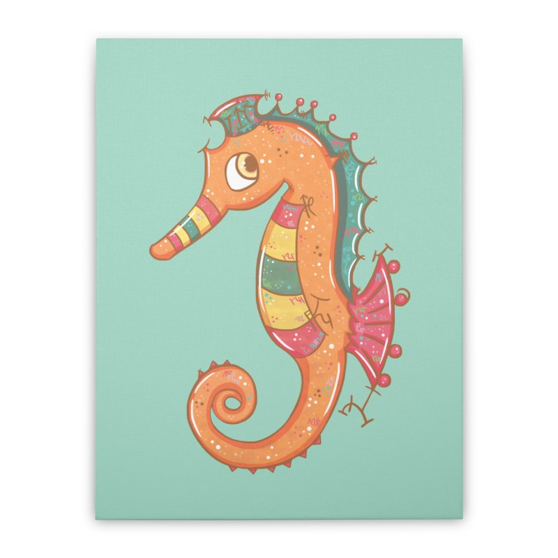 Sparkly Little Seahorse Home Stretched Canvas by VanillaKirsty's Artist Shop