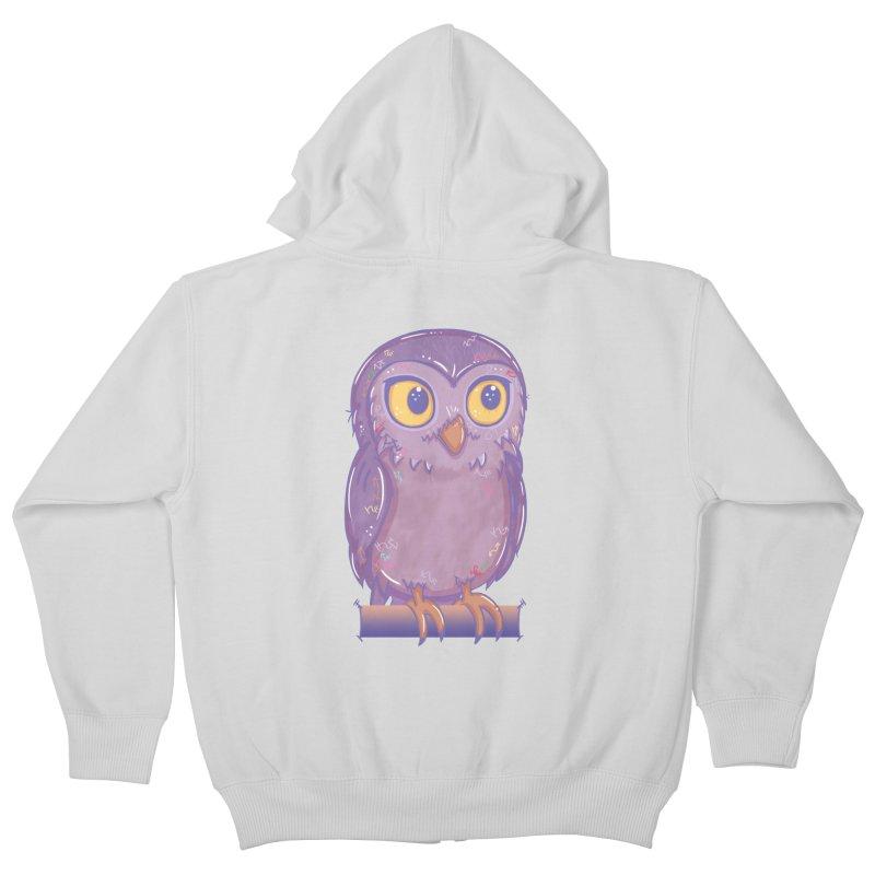 Enchanting Little Owl Kids Zip-Up Hoody by VanillaKirsty's Artist Shop