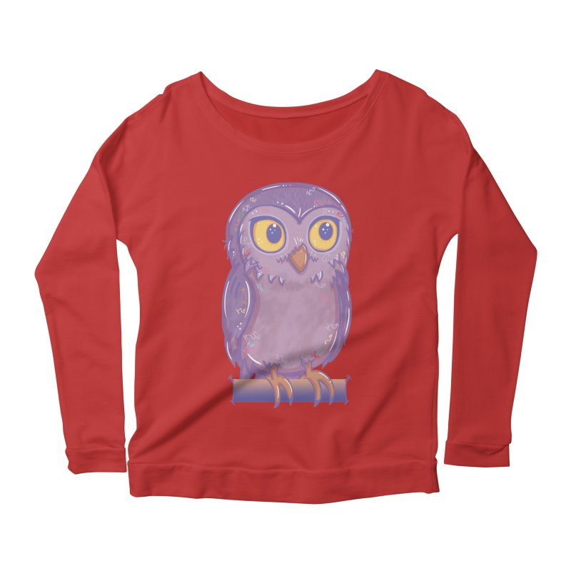 Enchanting Little Owl Women's Longsleeve Scoopneck  by VanillaKirsty's Artist Shop