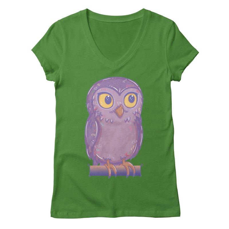 Enchanting Little Owl Women's V-Neck by VanillaKirsty's Artist Shop