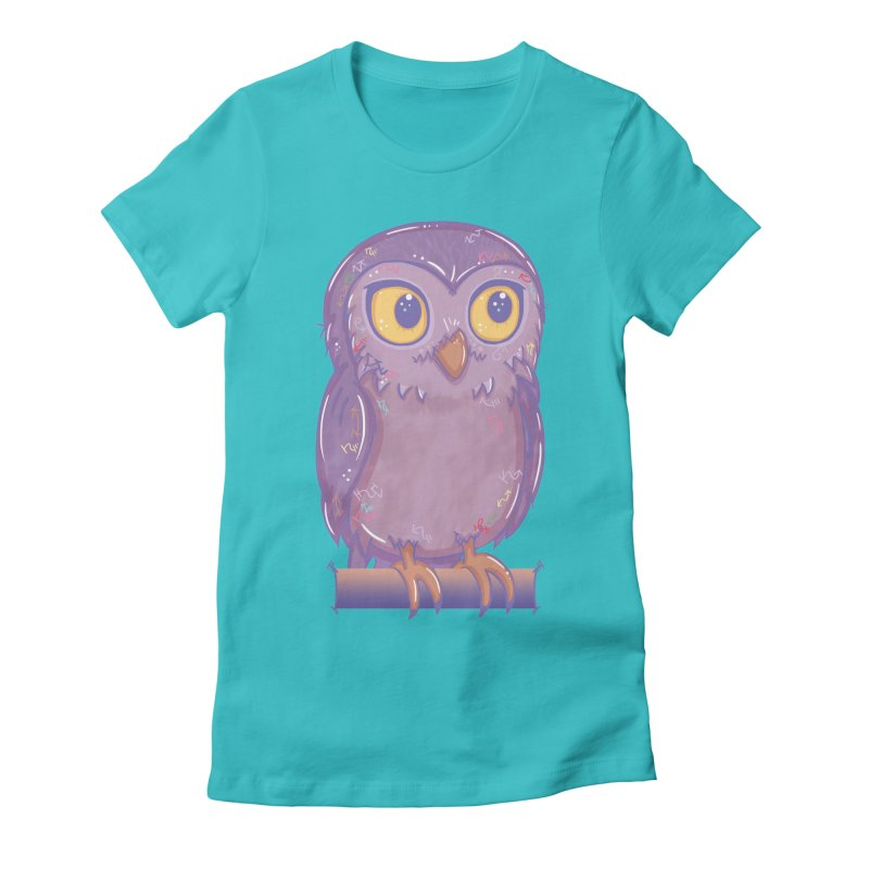 Enchanting Little Owl Women's Fitted T-Shirt by VanillaKirsty's Artist Shop