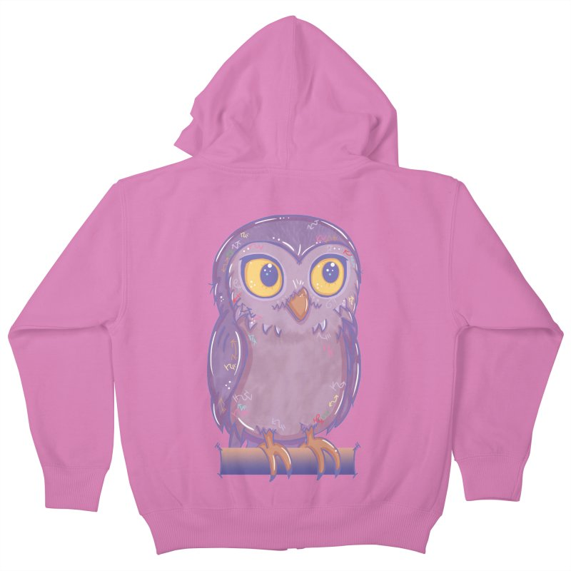 Enchanting Little Owl Kids Zip-Up Hoody by VanillaKirsty's Artist Shop