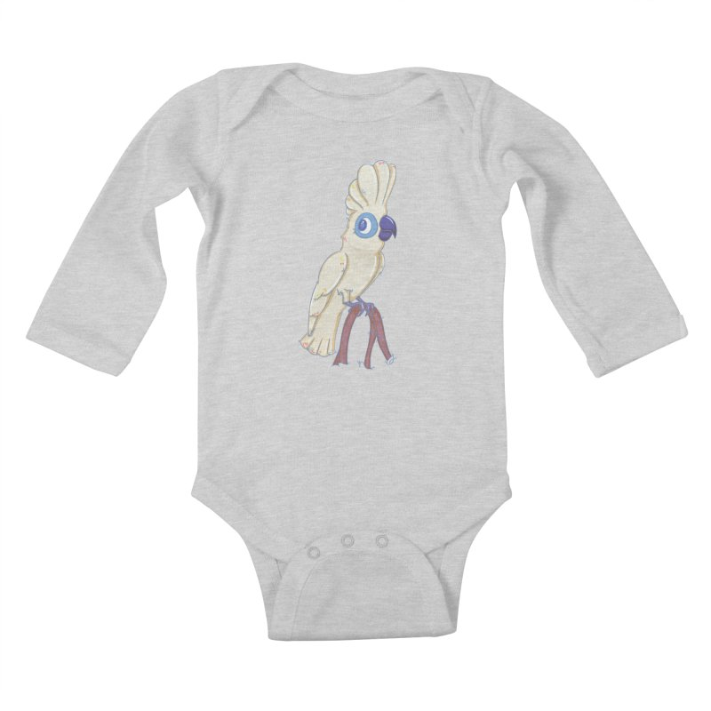 Clever Little Cockatoo  Kids Baby Longsleeve Bodysuit by VanillaKirsty's Artist Shop