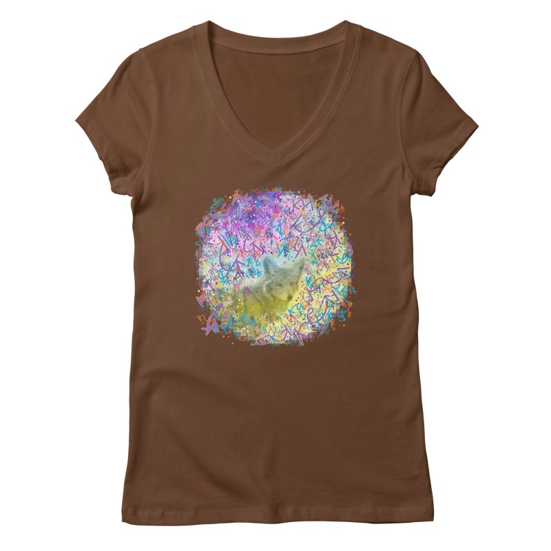 Chromatic Coyote Women's V-Neck by VanillaKirsty's Artist Shop