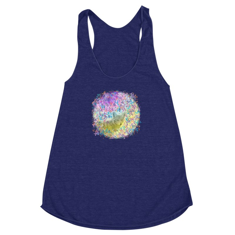 Chromatic Coyote Women's Racerback Triblend Tank by VanillaKirsty's Artist Shop